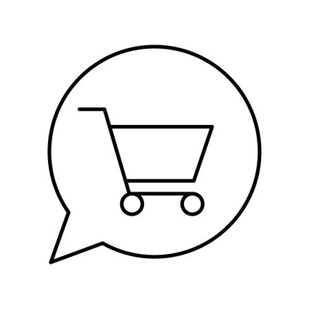 cart inside bubble line style icon design of Shopping commerce and market theme Vector illustration