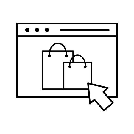 bags inside website line style icon design of Shopping commerce and market theme Vector illustration