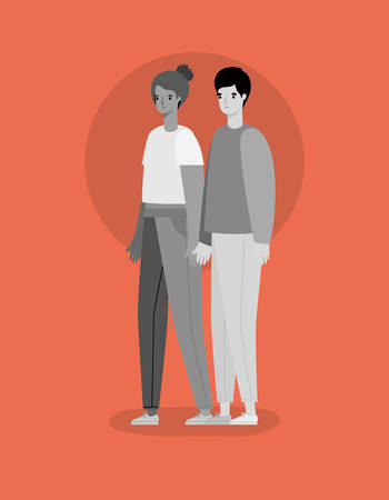 Woman and man avatar in gray colors design, Person people and human theme Vector illustration Vettoriali