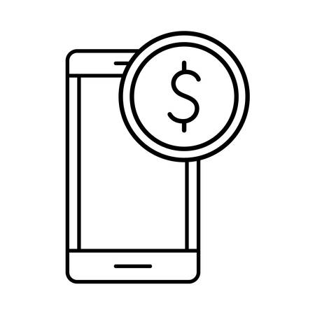 Coin and smartphone line style icon design of Shopping commerce and market theme Vector illustration