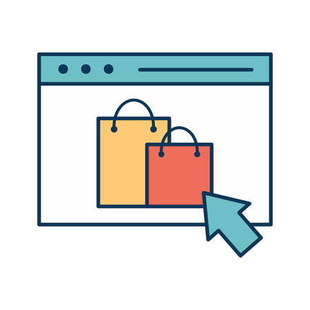 bags inside website line and fill style icon design of Shopping commerce and market theme Vector illustration