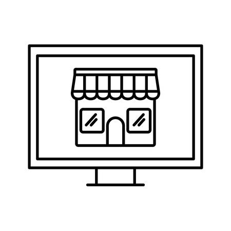 store inside computer line style icon design of Shop supermarket and market theme Vector illustration