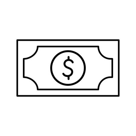 Bill line style icon of money financial banking commerce and market theme Vector illustration Ilustracja