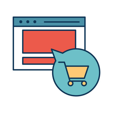 Website and cart inside bubble line and fill style icon design of Shopping commerce and market theme Vector illustration