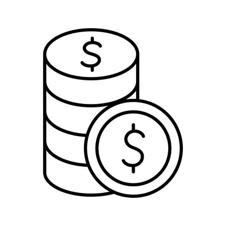 Coins line style icon of money financial banking commerce and market theme Vector illustration Ilustracja