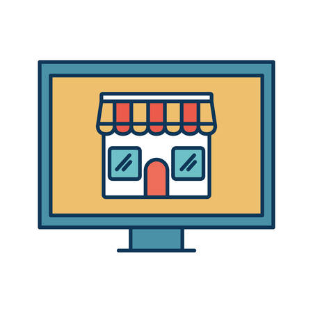 store inside computer line and fill style icon design of Shop supermarket and market theme Vector illustration