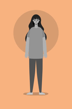 Avatar woman in gray colors design, Girl female person people human and social media theme Vector illustration Vettoriali