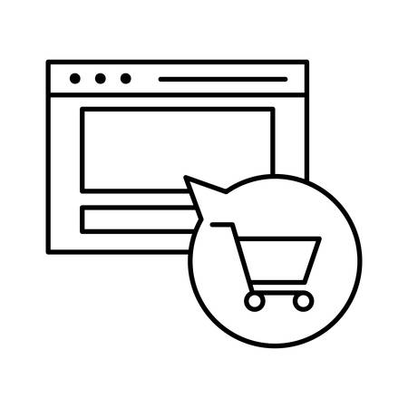 Website and cart inside bubble line style icon design of Shopping commerce and market theme Vector illustration
