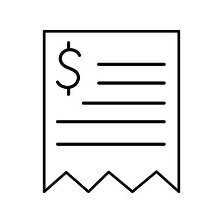 Receipt paper line style icon of money financial banking commerce and market theme Vector illustration