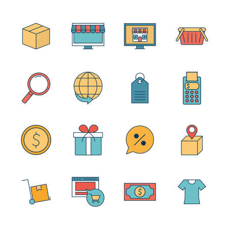line and fill style icon set design of Shopping online commerce and market theme Vector illustration Illustration