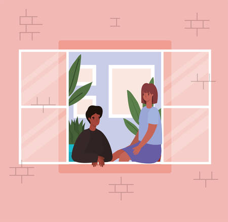 Couple looking out the window from pink house design, stay at home theme vector illustration