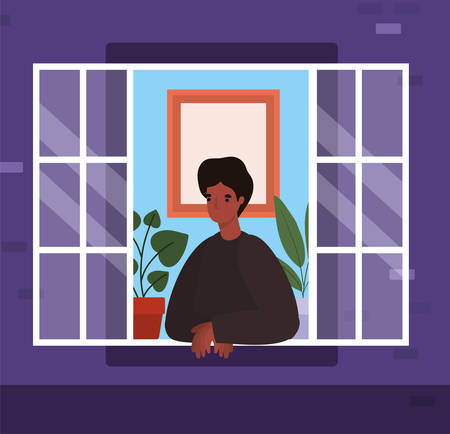 Man looking out the window from purple house design, stay at home theme vector illustration