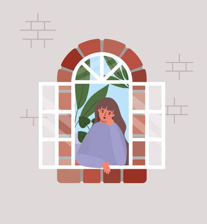 Woman looking out the window from gray house design, stay at home theme vector illustration