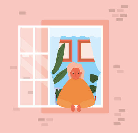 Woman looking out the window from pink house design, stay at home theme vector illustration