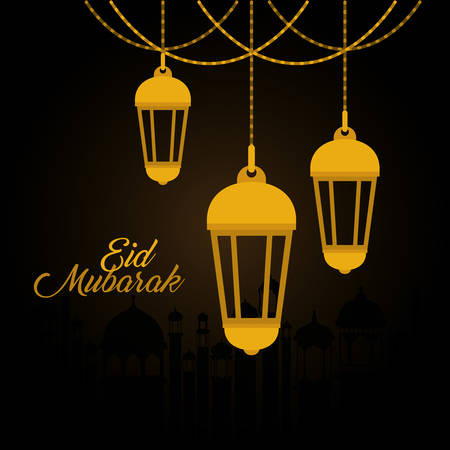 Eid mubarak gold lanterns design, Islamic religion and culture theme Vector illustration