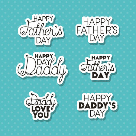 Happy fathers day typography texts design, Celebration and love theme Vector illustration Ilustrace
