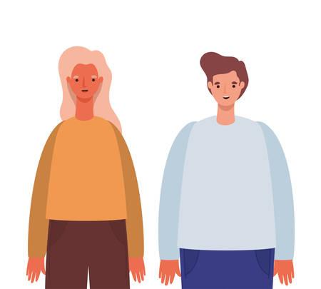 Woman and man avatar cartoon design, Person people and human theme Vector illustration Standard-Bild - 147822694
