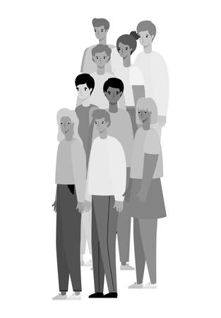 Women and men avatars cartoons in gray colors design, Person people and human theme Vector illustration Illustration