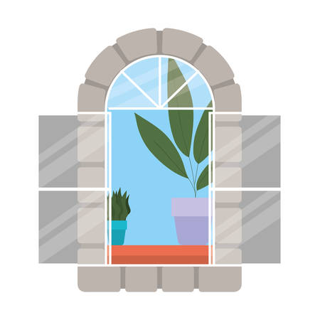 window with interior view of plants design, architecture home and house theme Vector illustration Vecteurs