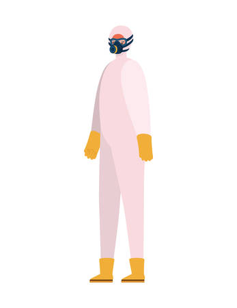 Man with protective suit mask glasses gloves and boots design, Hygiene wash health and clean theme Vector illustration
