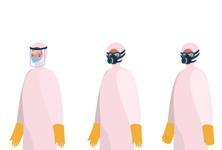 Men with protective suits masks glasses gloves and boots design, Hygiene wash health and clean theme Vector illustration Stok Fotoğraf - 147918786