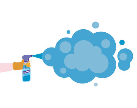 Clean spray bottle with smoke design, Hygiene wash health and clean theme Vector illustration Stok Fotoğraf - 147918793