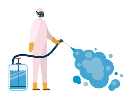 Man with protective suit holding pulverizer spray bottle with smoke design, Hygiene wash health and clean theme Vector illustration
