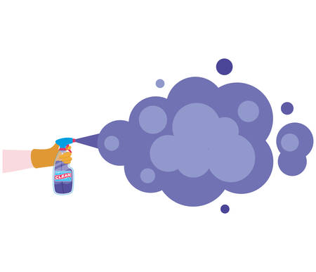 Hand holding clean spray bottle with smoke design, Hygiene wash health and clean theme Vector illustration Stok Fotoğraf - 147918805