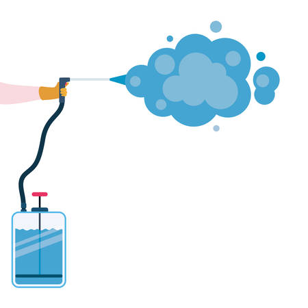 Pulverizer spray bottle with smoke design, Hygiene wash health and clean theme Vector illustration