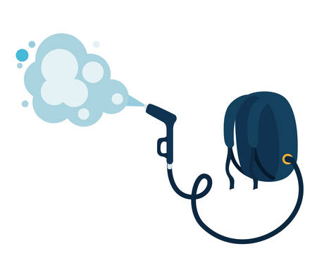 Bag with pulverizer spray hose and smoke design, Hygiene wash health and clean theme Vector illustration Çizim