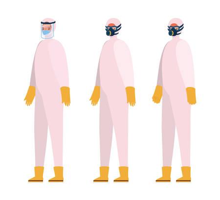 Men with protective suits masks glasses gloves and boots design, Hygiene wash health and clean theme Vector illustration Ilustração