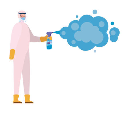 Man with protective suit holding pulverizer spray bottle with smoke design, Hygiene wash health and clean theme Vector illustration Stok Fotoğraf - 147918891