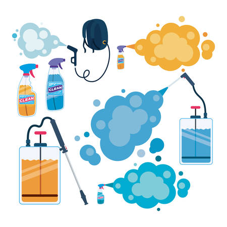 Set of pulverizer spray bottles and smokes design, Hygiene wash health and clean theme Vector illustration