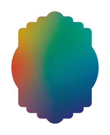 Blue green and red gradient frame banner design, Label tag product decoration sale card emblem invitation and premium theme Vector illustration Çizim