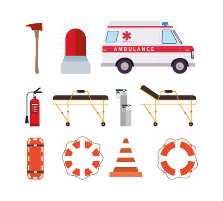 Ambulance oxygen cylinders stretcher siren axe cone extinguisher and lifebuoy design, Life guard emergency and rescue theme Vector illustration