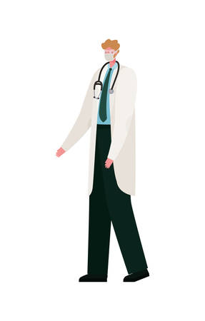 Male doctor with mask design, Workers occupation and job theme Vector illustration