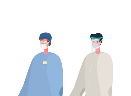 Men doctors with protective suit and mask design, Workers occupation and job theme Vector illustration