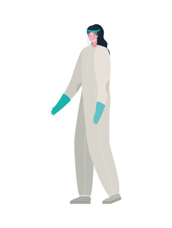 Female doctor with protective suit and mask design, Workers occupation and job theme Vector illustration