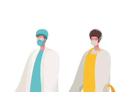 Male doctor and cook with masks design, Workers occupation and job theme Vector illustration