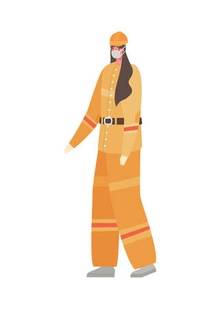 Female constructer with mask design, Workers occupation and job theme Vector illustration