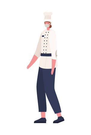 Female chef with mask design, Workers occupation and job theme Vector illustration