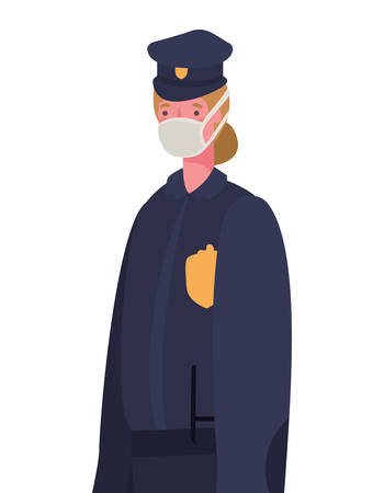 Female police with mask design, Workers occupation and job theme Vector illustration