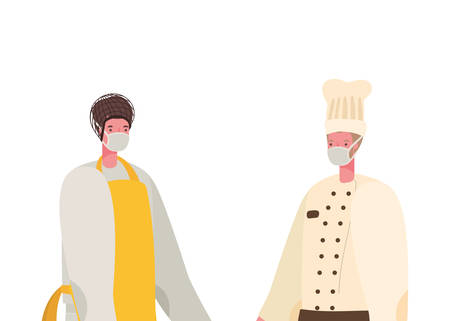 Male cook and chef with masks design, Workers occupation and job theme Vector illustration