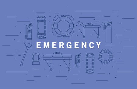 Emergency word in front of icon set design, Life guard emergency and rescue theme Vector illustration