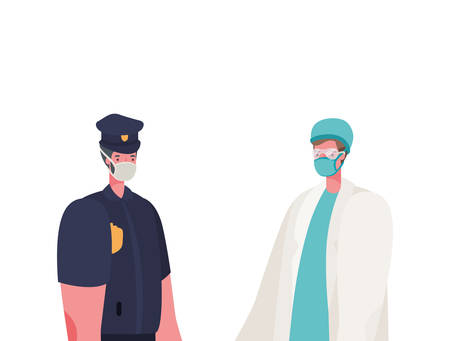 Male doctor and police man with masks design, Workers occupation and job theme Vector illustration Vectores