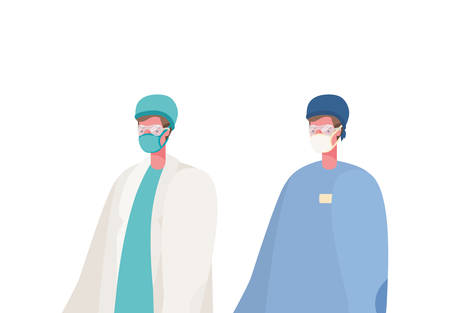 Male doctors with masks design, Workers occupation and job theme Vector illustration