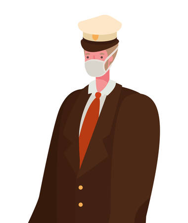 Male captain with mask design, Workers occupation and job theme Vector illustration Vectores