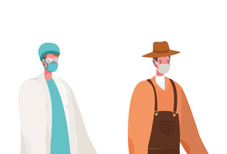 Male doctor and gardener with masks design, Workers occupation and job theme Vector illustration