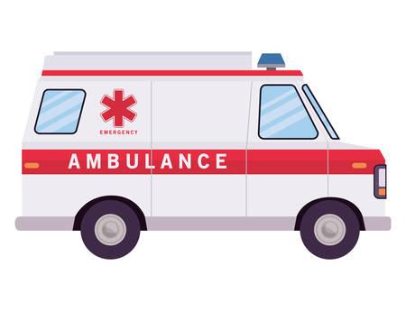 Ambulance paramedic car side view design, Life guard emergency and rescue theme Vector illustration Ilustracje wektorowe