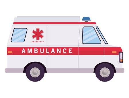 Ambulance paramedic car side view design, Life guard emergency and rescue theme Vector illustration Vector Illustration